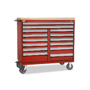 "Rousseau Metal 14 Drawer Mobile Multi-Drawer Cabinet - 48""Wx24""Dx45-1/2""H Red"
