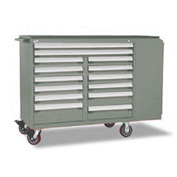 "Rousseau Metal 14 Drawer Mobile Multi-Drawer Cabinet - 62""Wx24""Dx45-1/2""H Light Gray"