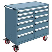"Rousseau Metal 10 Drawer Mobile Multi-Drawer Cabinet - 48""Wx24""Dx45-1/2""H Everest Blue"