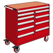 """Rousseau Metal 10 Drawer Mobile Multi-Drawer Cabinet - 48""""Wx24""""Dx45-1/2""""H Red"""