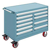 """Rousseau Metal 10 Drawer Mobile Multi-Drawer Cabinet - 48""""Wx27""""Dx37-1/2""""H Everest Blue"""