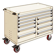 """Rousseau Metal 10 Drawer Mobile Multi-Drawer Cabinet - 48""""Wx27""""Dx37-1/2""""H Beige"""