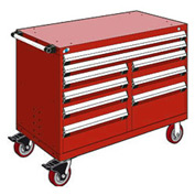 "Rousseau Metal 9 Drawer Mobile Multi-Drawer Cabinet - 48""Wx27""Dx37-1/2""H Red"
