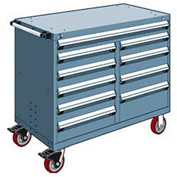 """Rousseau Metal 10 Drawer Mobile Multi-Drawer Cabinet - 48""""Wx27""""Dx41-1/2""""H Everest Blue"""