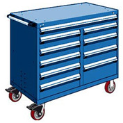 "Rousseau Metal 10 Drawer Mobile Multi-Drawer Cabinet - 48""Wx27""Dx41-1/2""H Avalanche Blue"