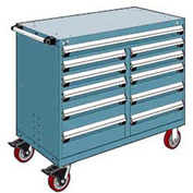 """Rousseau Metal 11 Drawer Mobile Multi-Drawer Cabinet - 48""""Wx27""""Dx41-1/2""""H Everest Blue"""