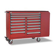 "Rousseau Metal 14 Drawer Mobile Multi-Drawer Cabinet - 62""Wx27""Dx45-1/2""H Red"