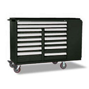 "Rousseau Metal 14 Drawer Mobile Multi-Drawer Cabinet - 62""Wx27""Dx45-1/2""H Black"