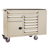 "Rousseau Metal 8 Drawer Mobile Multi-Drawer Cabinet - 62""Wx27""Dx45-1/2""H Beige"