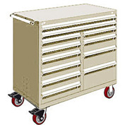"""Rousseau Metal 12 Drawer Mobile Multi-Drawer Cabinet - 48""""Wx27""""Dx45-1/2""""H Beige"""
