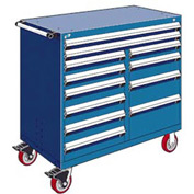 """Rousseau Metal 12 Drawer Mobile Multi-Drawer Cabinet - 48""""Wx27""""Dx45-1/2""""H Avalanche Blue"""