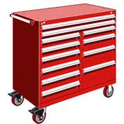 """Rousseau Metal 12 Drawer Mobile Multi-Drawer Cabinet - 48""""Wx27""""Dx45-1/2""""H Red"""