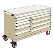 """Rousseau Metal 10 Drawer Mobile Multi-Drawer Cabinet - 60""""Wx24""""Dx37-1/2""""H Beige"""