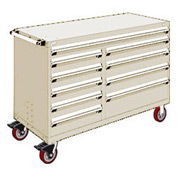 "Rousseau Metal 10 Drawer Mobile Multi-Drawer Cabinet - 60""Wx24""Dx41-1/2""H Beige"