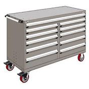 "Rousseau Metal 11 Drawer Mobile Multi-Drawer Cabinet - 60""Wx24""Dx41-1/2""H Light Gray"