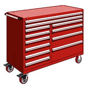 "Rousseau Metal 12 Drawer Mobile Multi-Drawer Cabinet - 60""Wx24""Dx45-1/2""H Red"
