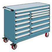 "Rousseau Metal 13 Drawer Mobile Multi-Drawer Cabinet - 60""Wx24""Dx45-1/2""H Everest Blue"