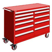 """Rousseau Metal 10 Drawer Mobile Multi-Drawer Cabinet - 60""""Wx24""""Dx45-1/2""""H Red"""