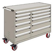 "Rousseau Metal 11 Drawer Mobile Multi-Drawer Cabinet - 60""Wx24""Dx45-1/2""H Light Gray"