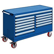 """Rousseau Metal 12 Drawer Mobile Multi-Drawer Cabinet - 60""""Wx27""""Dx37-1/2""""H Avalanche Blue"""