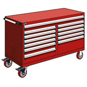 "Rousseau Metal 12 Drawer Mobile Multi-Drawer Cabinet - 60""Wx27""Dx37-1/2""H Red"
