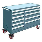 "Rousseau Metal 10 Drawer Mobile Multi-Drawer Cabinet - 60""Wx27""Dx41-1/2""H Everest Blue"