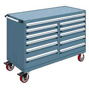 "Rousseau Metal 11 Drawer Mobile Multi-Drawer Cabinet - 60""Wx27""Dx41-1/2""H Everest Blue"