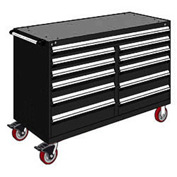 "Rousseau Metal 11 Drawer Mobile Multi-Drawer Cabinet - 60""Wx27""Dx41-1/2""H Black"