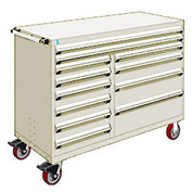 "Rousseau Metal 12 Drawer Mobile Multi-Drawer Cabinet - 60""Wx27""Dx45-1/2""H Beige"
