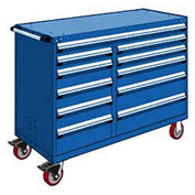 "Rousseau Metal 11 Drawer Mobile Multi-Drawer Cabinet - 60""Wx27""Dx45-1/2""H Avalanche Blue"