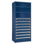 "Steel Shelving 48""Wx24""Dx87""H Closed 5 Shelf 8 Drawer Avalanche Blue"