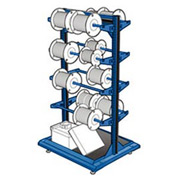 "Stationary Reel Rack 32""W x 27""D x 55""H Bottom Shelf 8 Storage Rods Avalanche Blue"
