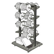 "Stationary Reel Rack 32""W x 27""D x 55""H Bottom Shelf 8 Storage Rods Light Gray"