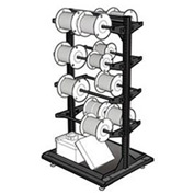 "Stationary Reel Rack 32""W x 27""D x 55""H Bottom Shelf 8 Storage Rods Black"