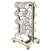 "Mobile Reel Rack 32""W x 27""D x 59-1/4""H Bottom Shelf 8 Storage Rods Beige"