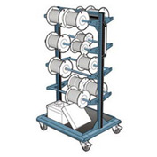 "Mobile Reel Rack 32""W x 27""D x 59-1/4""H Bottom Shelf 8 Storage Rods Everest Blue"
