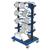 "Mobile Reel Rack 32""W x 27""D x 59-1/4""H Bottom Shelf 8 Storage Rods Avalanche Blue"