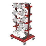 "Mobile Reel Rack 32""W x 27""D x 59-1/4""H Bottom Shelf 8 Storage Rods Red"