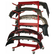 """Double Sided Stock Rack 45""""Wx42""""Dx91""""H Mobile 6 Level Red"""