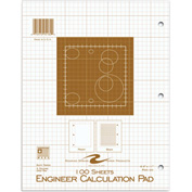 "Roaring Spring Engineering Pad, 8-1/2"" x 11"", Buff, 100 Sheets/Pad, 24 Pads/Pack"
