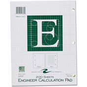 "Roaring Spring Engineering Pad, 8-1/2"" x 11"", Green, 200 Sheets/Pad, 24 Pads/Pack"