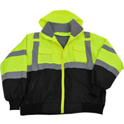 Petra Roc Waterproof Bomber Jacket W/Removable Fleece Liner, ANSI Class 3, Lime/Black, 2XL