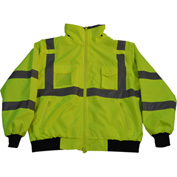 Petra Roc Waterproof Bomber Jacket W/Removable Fleece Liner, ANSI Class 3, Lime, 2XL