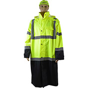"Petra Roc 48"" Two Tone Waterproof Rain Coat, ANSI Class 3, Lime/Black, Size 2XL"