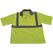 Petra Roc Short Sleeve Polo Shirt, ANSI Class 2, Chest Pocket, Polyester Birdseye Mesh, Lime, 2X/3XL