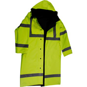 "Petra Roc 48"" Waterproof Reversible Raincoat, ANSI Class 3, 300D Oxford/PU Coating, Lime/Black, XL"