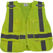 Petra Roc Expandable 5-Point Breakaway Safety Vest, ANSI Class 2, Polyester Solid, Lime, S-XL