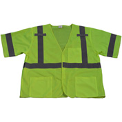 Petra Roc Safety Vest, ANSI Class 3, Touch Fastener Closure, Polyester Mesh, Lime, S/M