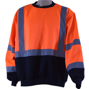 Petra Roc Crew Neck Sweater, ANSI Class 3, Polar Fleece, Orange/Black, L