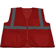 Petra Roc Special Identification Vest, Polyester Mesh, Zipper Closure, Red, S/M